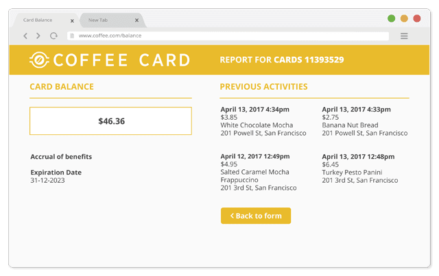 Coffee Card Balance