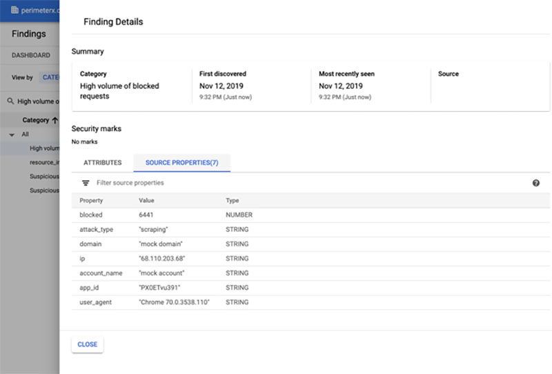 Announcing PerimeterX Bot Defender with Google Cloud Security Command Center
