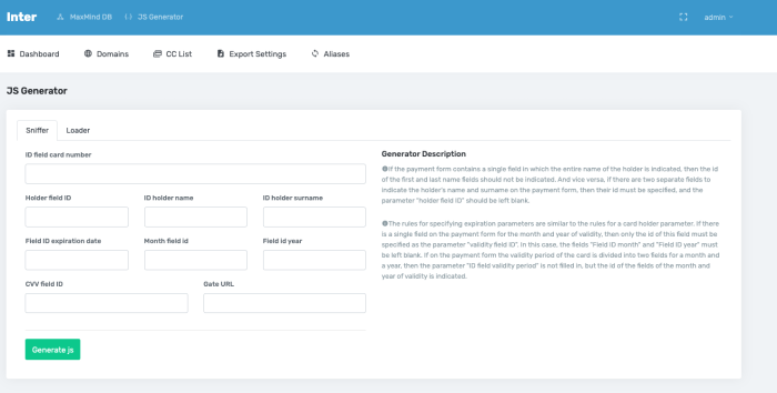 Skimmer creation widget with easily customizable checkout page form fields