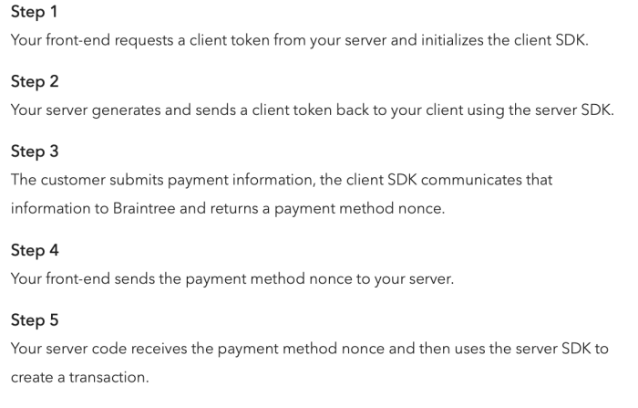 Braintree payment processing steps