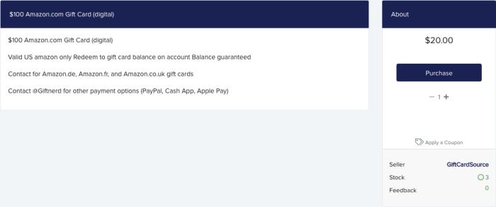 Stolen e-gift card